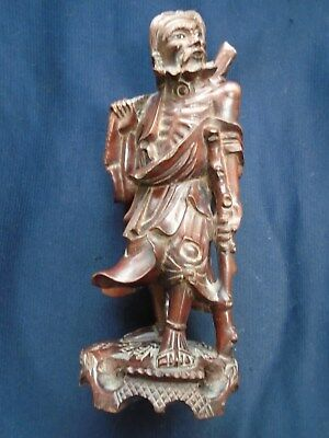 CARVED WOOD ORIENTAL FIGURE - 8in small chip