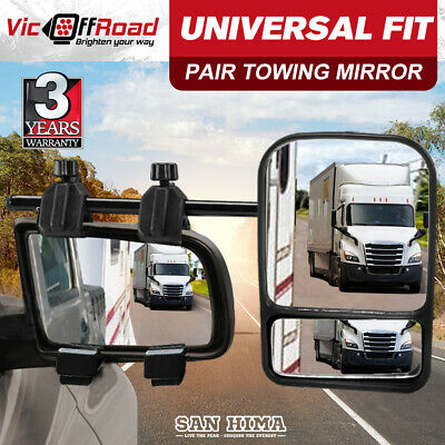 2 x TOWING MIRRORS HEAVY DUTY UNIVERSAL FIT STRAP ON TOWING CARAVAN 4X4 TRAILER