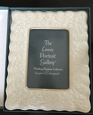 Lenox Picture Frame 5 x 7 Wedding Promises Collection Portrait Gallery Ivory NIB