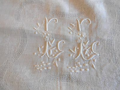 ANTIQUE French WHITE Cotton Linen Damask Tablecloth embroidery monograms L.L