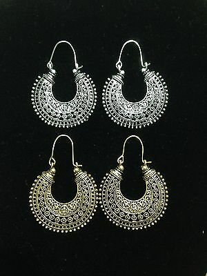 silver and antique gold  jhumka earrings 2 pair