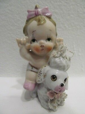 Vintage Spaghetti Poodle Dog With Baby Girl Making Funny Face Figurine Rare Find