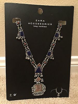 Nwt Zara Long Tribal Antique Silver Necklace With Blue And Red Accents 2016