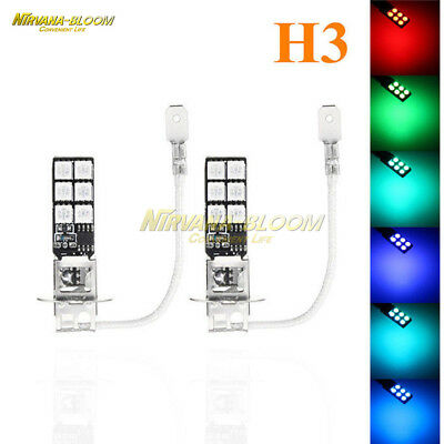With Remote Control 2PCS H3 5050 RGB LED 12SMD Car Headlight Fog Light Lamp Bulb