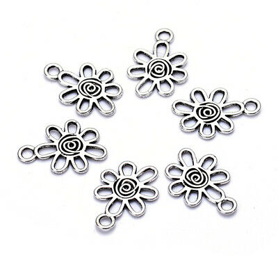 50pcs/lot antique vintage silver plated zinc alloy flower charm pendants beads