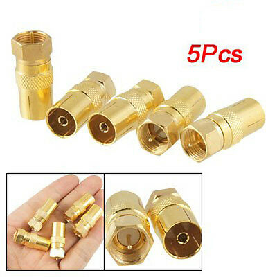 5pcs Straight F-Type Male to TV PAL Female RF Coaxial Connector Adapter Jac V4Q2