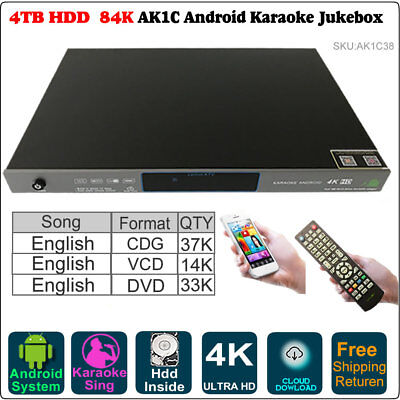 4TB HDD 84K Pure English Songs,Android Cloud Karaoke Player,Update to 2018 Junly