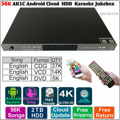 ,2TB HDD 56K English  Songs Android Cloud Karaoke HDD Jukebox Player Machine