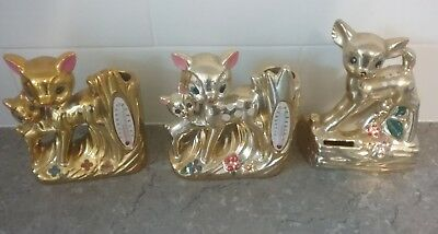 Vintage Gold lustre Bambi baby deer money box and vase ornaments