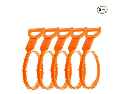 "20"" 5pcs Orange Flexible Drain Snake Stick Hair Clog Food Remover Cleaning Tool"