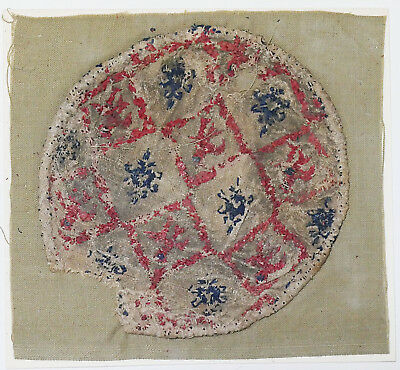 13-15C Antique Textile Fragment - Dyeing and Weaving
