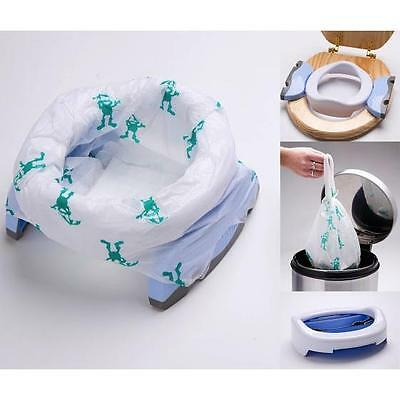 Potette Plus Travel Potty & Toilet Trainer Seat + 3 Liners + Carry Bag  - WHITE