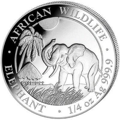 Silver Somalia Elephant - 1/4 oz .9999 Pure/Solid Silver New, Art-Round/Coin