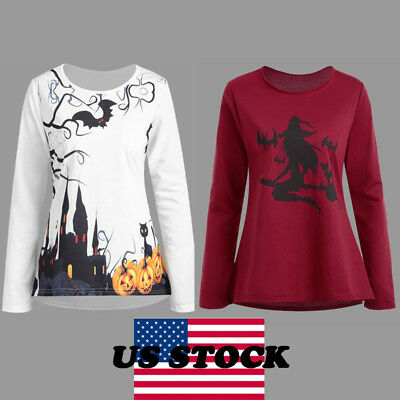 US STOCK Womens Mens Long Sleeve Halloween Print Shirt Top Plus Size Costume