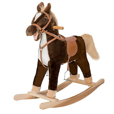 Kids Ride On Pony Toddler Rocking Horse Nursery Plush Toy Wooden Rocker W Sound