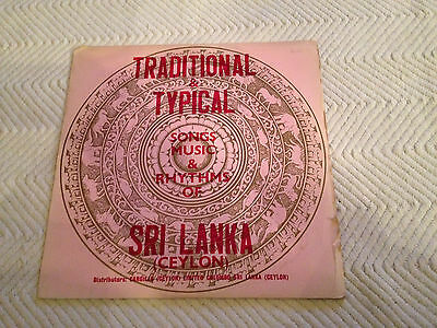 Traditional & Typical Songs Music of Sri Lanka Ceylon LP vinyl 2XJC 101 33PGE