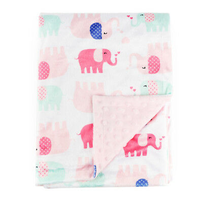Baby Blanket for Girl Soft Minky with Double Layer Dotted Backing, Pink Elephant