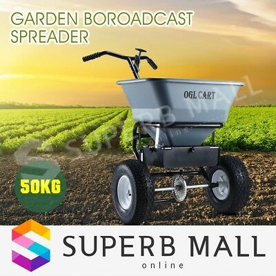 50kg Walk Behind Broadcast Spreader Lawn Seed Fertilizer Farm Garden Seeder