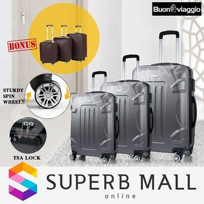 3x Luggage Suitcase Shell Case TSA Trolley Hard Lightweight Spinner Set-Grey