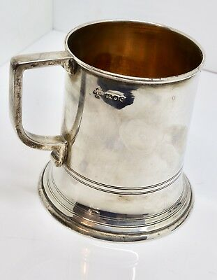A Nice Antique C1949 Solid Silver 3/4 Pint Tankard