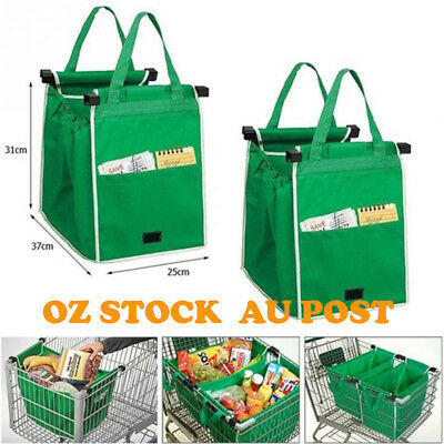 2/4x Supermarket Grocery Shopping BAG Cart Foldable Reusable Trolley Grab Tote