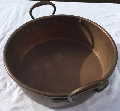 Lovely Victorian All Copper Confiture Jam Pan With Rolled Edge Rim