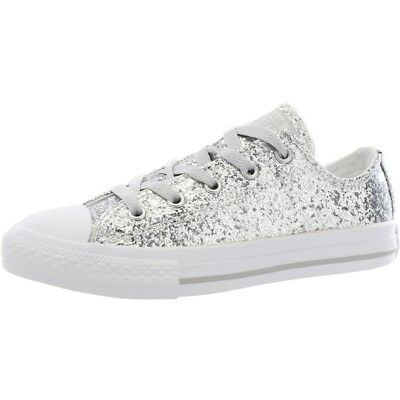 Converse Chuck Taylor All Star Glitter Pure Silver Synthetic Youth Trainers