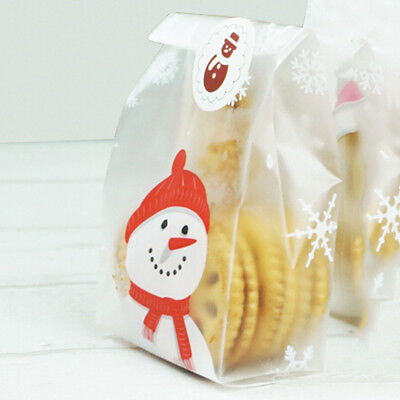 50pcs Christmas Cake Bags Candy Cookies Biscuits Plastic Bag Snow Xmas UK