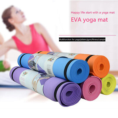 Yoga Mat for Pilates Gym Exercise Carry Strap 4mm Thick Large Comfortable Soft