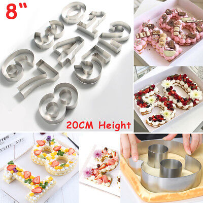 "8"" 0-9 Numbers Mousse Cookies Cutter Fondant Cake Chocolate Baking Mold Tool DIY"