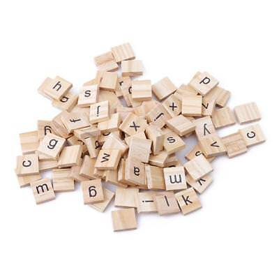 100 Wooden Scrabble Tiles Individual Letters Numbers Crafts Alphabet LH