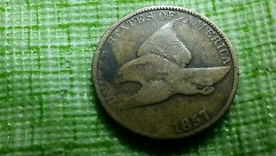 1857 1C Flying Eagle Cent, VG -F  nice old US coin  #F396