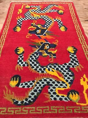 Antique Vintage Handmade Chinese Wool Rug Carpet Shabby Chic Size:3.2 by 1.11 Ft