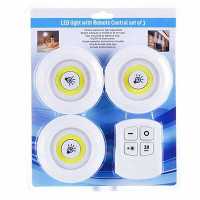 3 Pack LED SMD Light Battery Operated Under Kitchen Cabinet Security With Remote