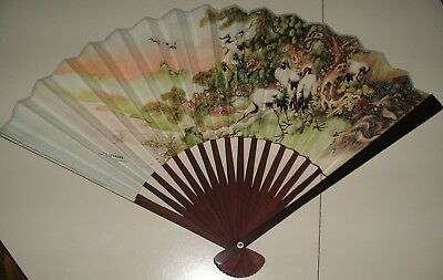 Vintage Bamboo And Paper Folding Accordion Fan Peoples Republic of China CRANES