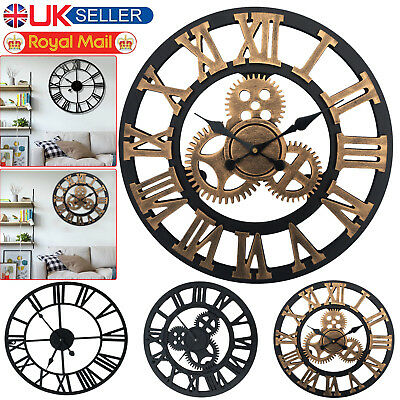 Large Round Traditional Vintage Style Iron Wall Clock Big Roman Numeral Skeleton