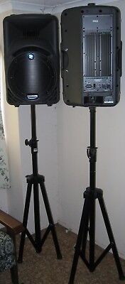 Mackie SRM450 active P.A. speakers, stands, leads and Behringer mixing desk