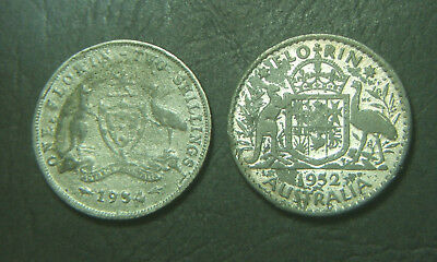 1934 & 1952 Old Forgery Australian Florins