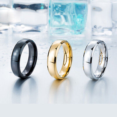 W:8mm Fine Tri-color Men  Women Jewelry 316L Stainless Steel Ring GR320 Sz 7-13