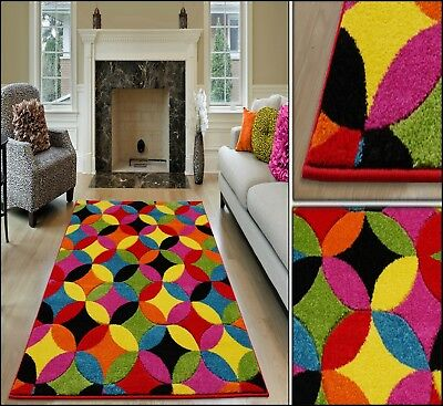 Small Large Extra Large Multi Coloured Geometric Hand Carved Rug Runner Carpet
