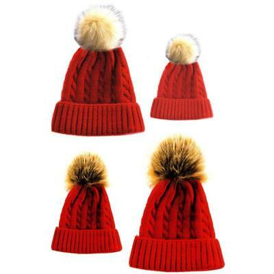 Mummy/Baby Matching Cable Knit Red Hat With Fluffy Pom-Pom