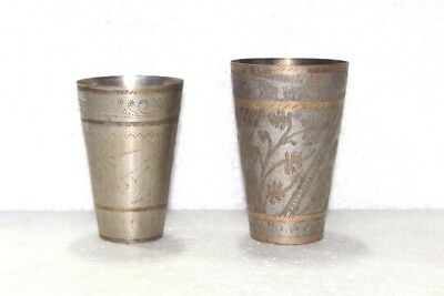 1900s Old Vintage Antique Brass Lassi Glass Set of Two Collectible Z89