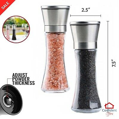 SALT AND PEPPER GRINDERS Stainless Steel Glass Mill Grind Spice Shakers Set 2 Pc
