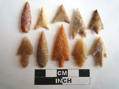 Neolithic Arrowheads x 10, High Quality Selection of Styles - 4000BC - (2129)