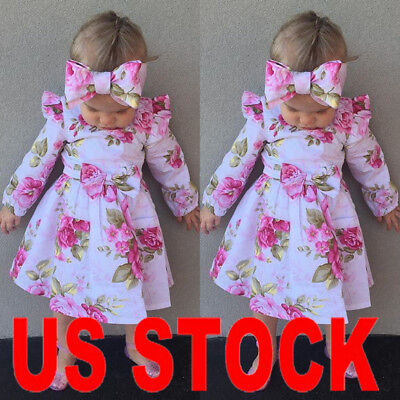 Girls Bridesmaid Baby Kids Party Floral Print Wedding Dresses Princess Outfit