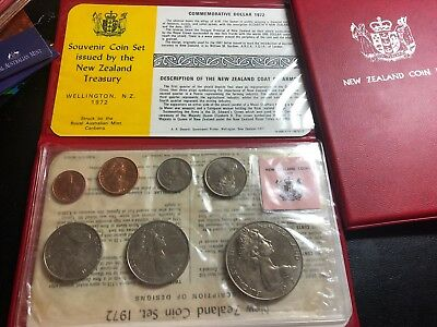 New Zealand 1972 Coin Set - Issued NZ - Struck London -  7 coin set UNC