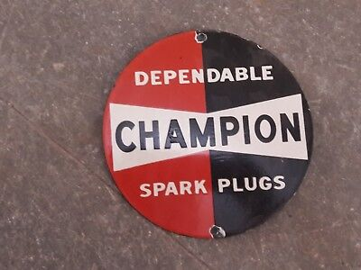 "Porcelain Champion Enamel Sign Size 6"" Inch Round"