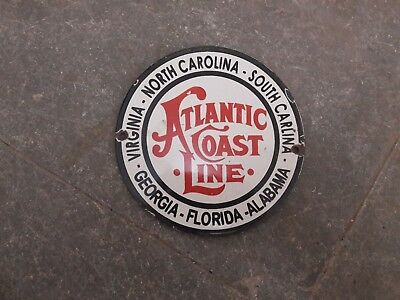 "Porcelain Atlantic Coast Line Enamel Sign Size 6"" Inch Round"