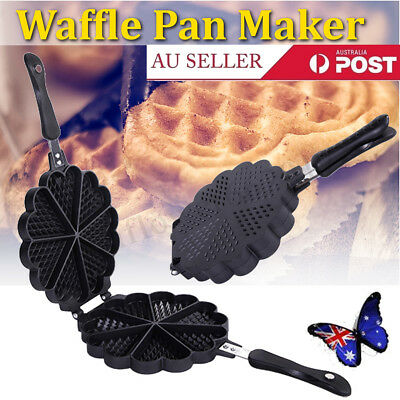 Waffle Pan Maker Non-stick Press Plates Mould Baking 7 HEART Shape Tool Mold AU