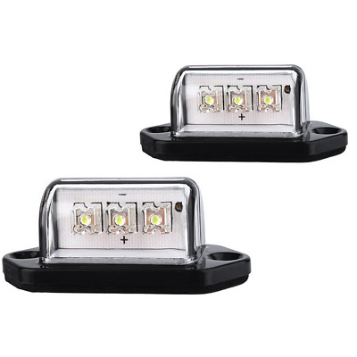 1 Pair Waterproof 12V 3 LED License Plate Light Car Boat Truck Trailer Step Lamp
